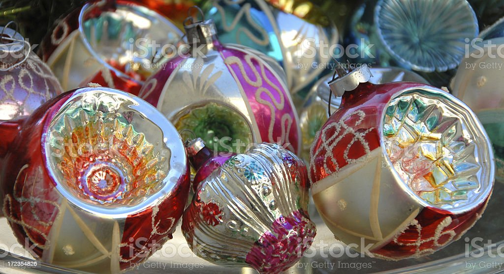 Antique Christmas Ornaments, Holiday Decorations Background royalty-free stock photo