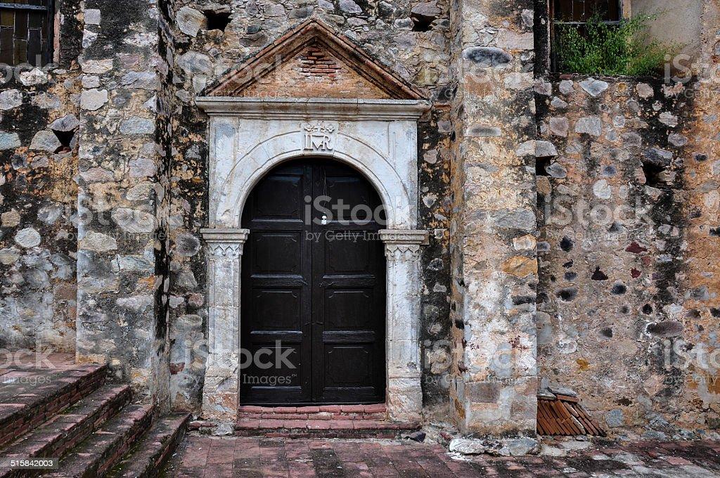 Antique Church Door in La Aduana, Mexico stock photo