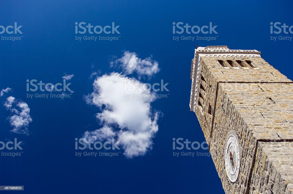 Antique church tower in Koper in lovely summer day stock photo