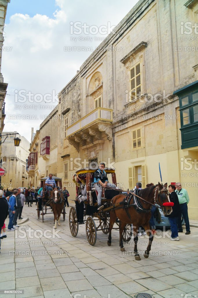 Antique cityskype view with tourist horse carriage. stock photo