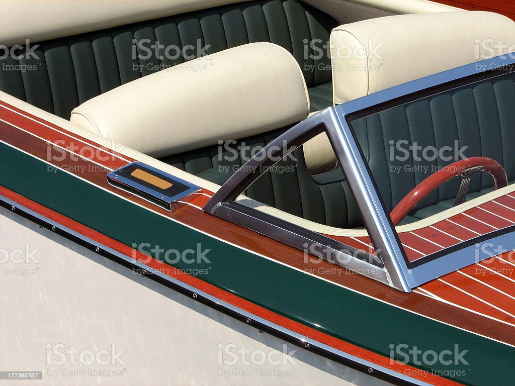 Antique Classic Wood Boat Cockpit royalty-free stock photo
