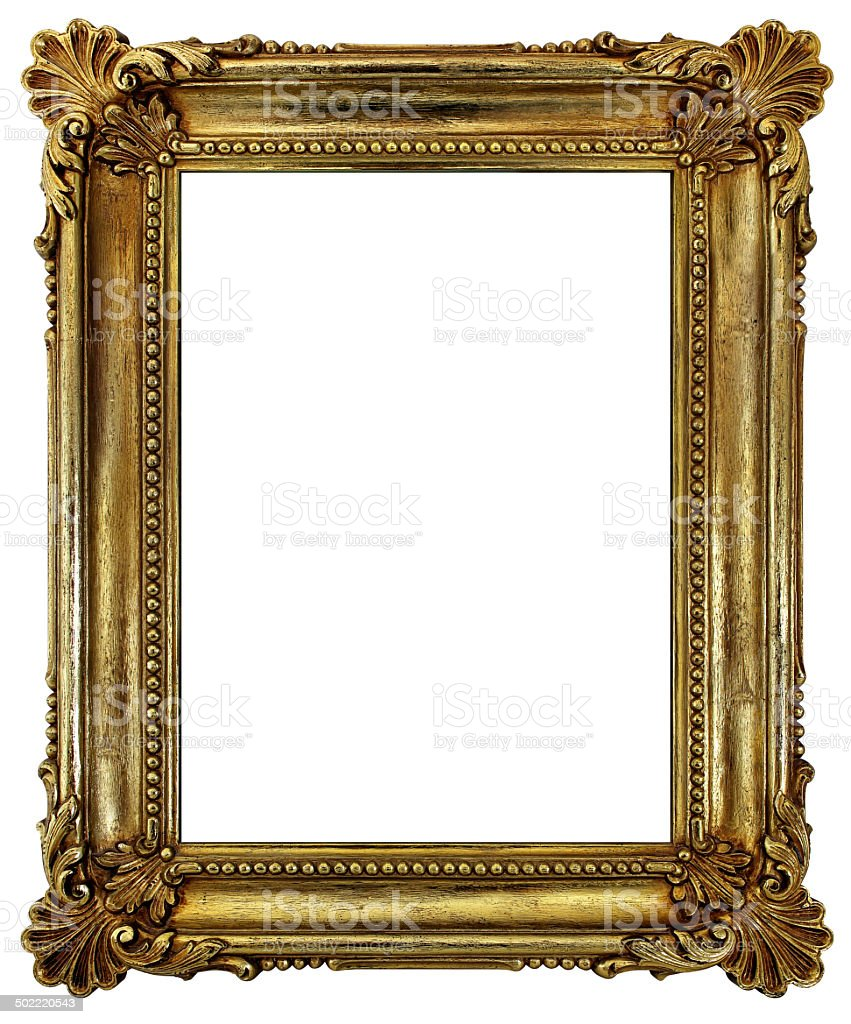 Antique Classical Picture Frame - Plated in Rich Gold stock photo
