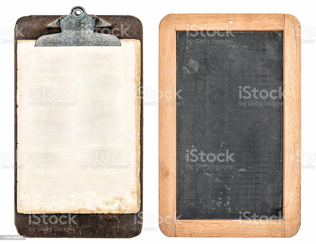 antique clipboard and chalkboard isolated on white stock photo