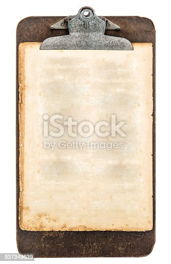istock antique clipboard with sheet of aged grungy paper 537349639