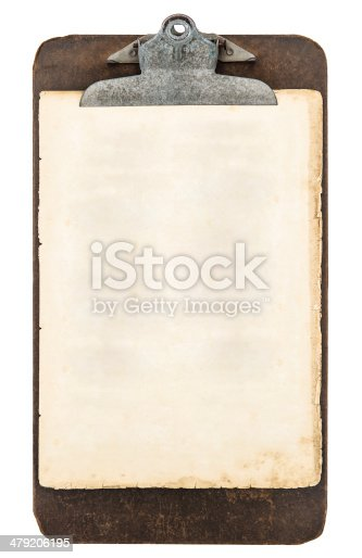 1129542015 istock photo antique clipboard with sheet of paper isolated on white 479206195