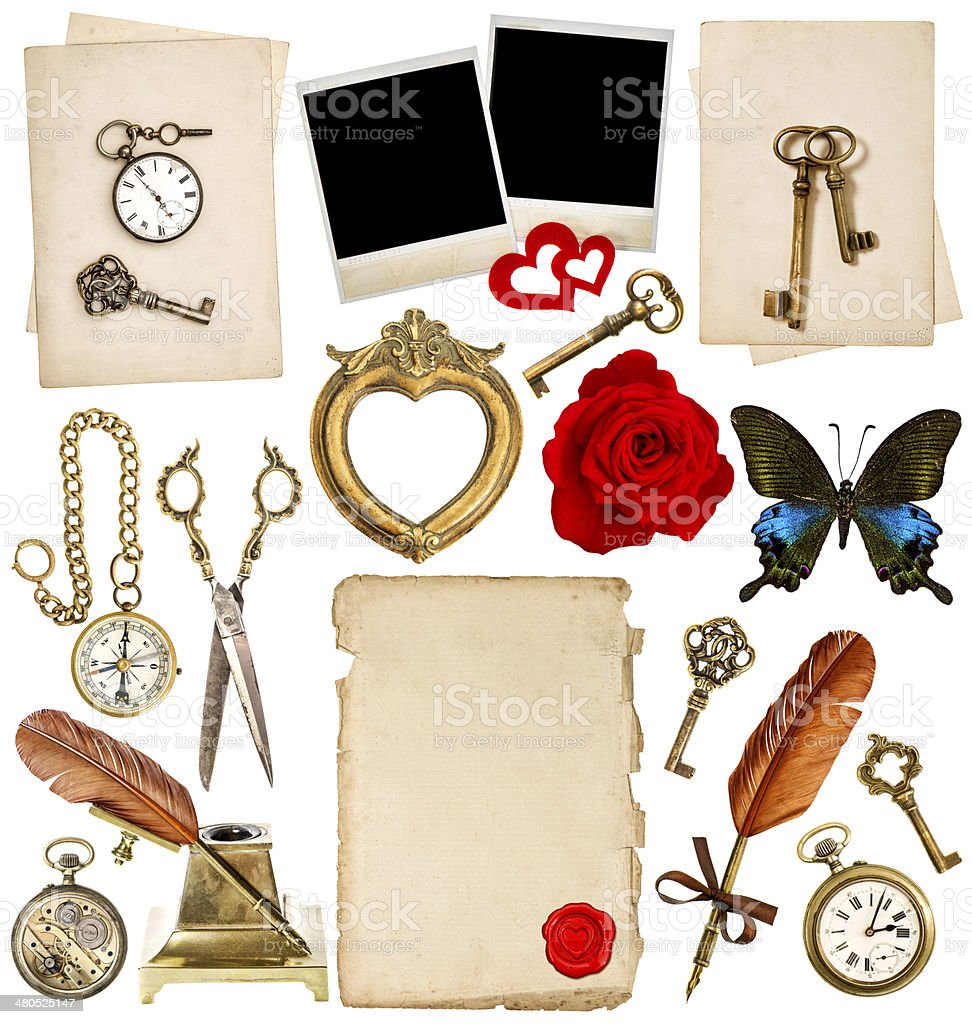Antike Uhr Schlüssel Fotorahmen Feder Feder Butterfly Stock ...