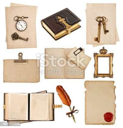istock antique clock, key, postcard, photo album, feather pen 465520359