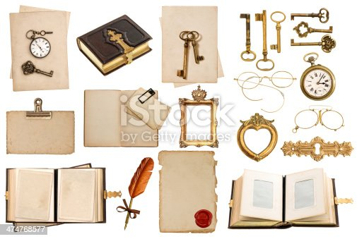 1129542015 istock photo antique clock, key, postcard, photo album, feather pen 474768577