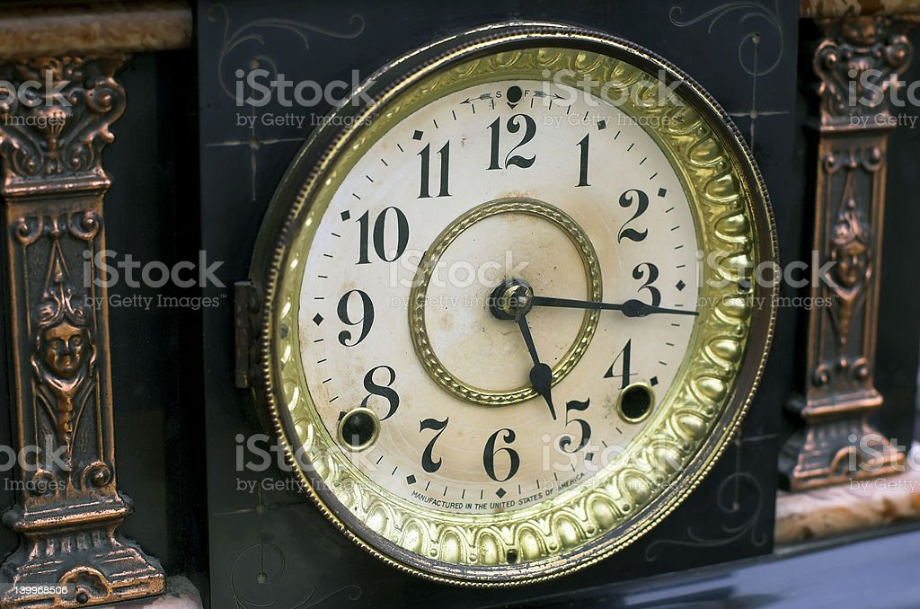 antique clock stock photo