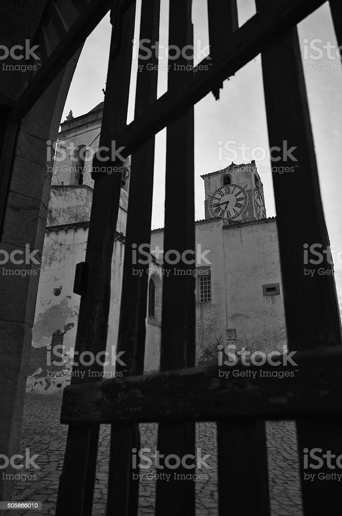Antique Clock Tower from Saint Mary's church stock photo