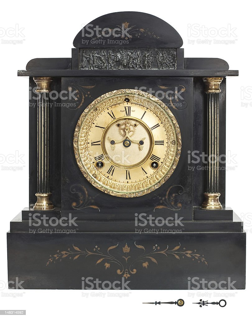 Antique Clock with Roman Numerals stock photo
