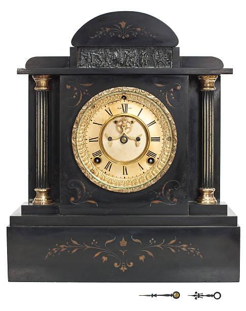 Antique Clock with Roman Numerals stock photo