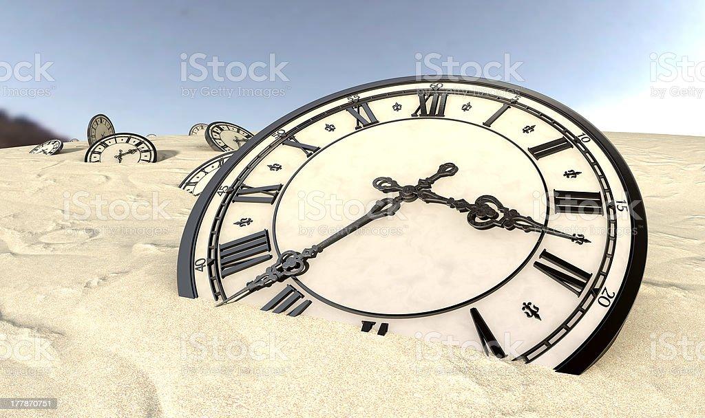 Antique Clocks In Desert Sand Closeup stock photo