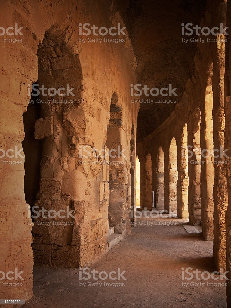 Antique coliseum hallway stock photo