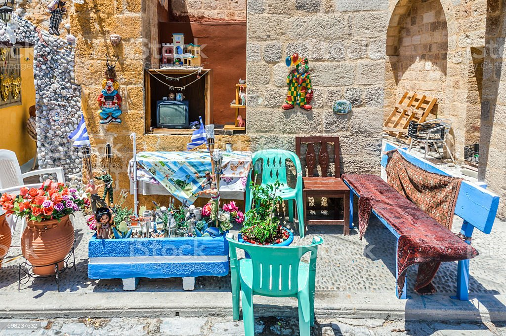 Antique collection on medieval street in Rhodes, Greece stock photo