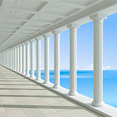 3d illustration. Antique colonnade on a background of blue sea. Hotel or Palace. Classic architecture
