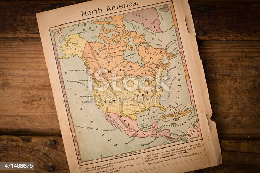 171057063 istock photo Antique Color Map of North America on Wood 471408675