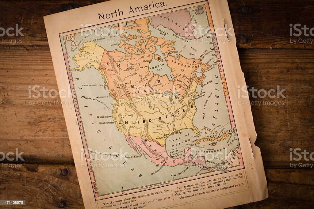 Antique Color Map of North America on Wood stock photo