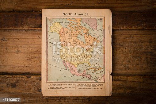 171057063 istock photo Antique Color Map of North America on Wood 471408677