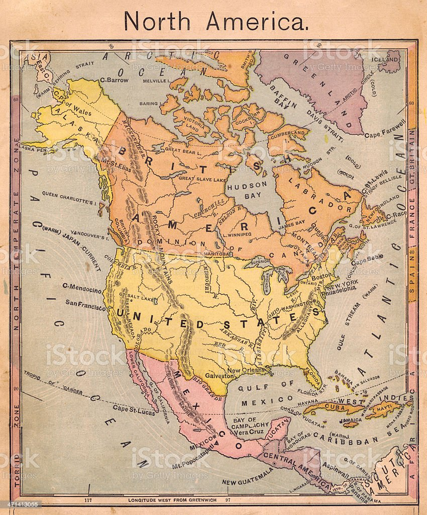 1867, Antique Color Map of North America royalty-free stock photo