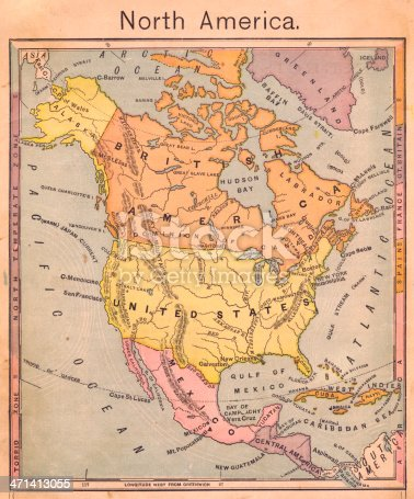 171057063 istock photo 1867, Antique Color Map of North America 471413055