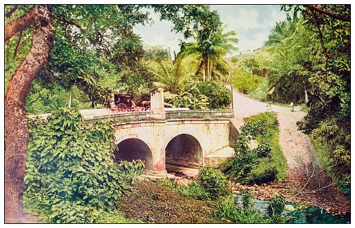 Antique color photograph: Bridge on the Bayamon River, Puerto Rico