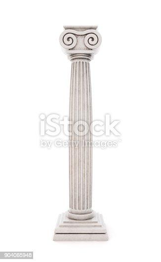 istock Antique column stock illustration isolated on white background. 3d render. 904065948