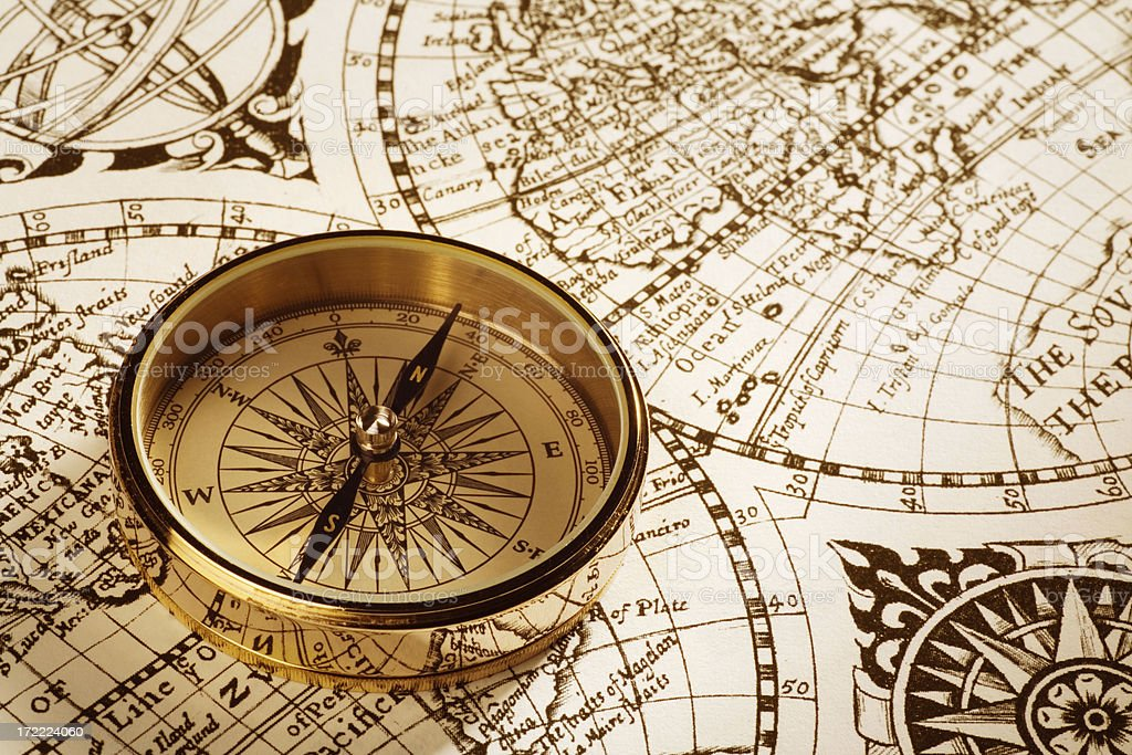 Antique Compass and Map stock photo