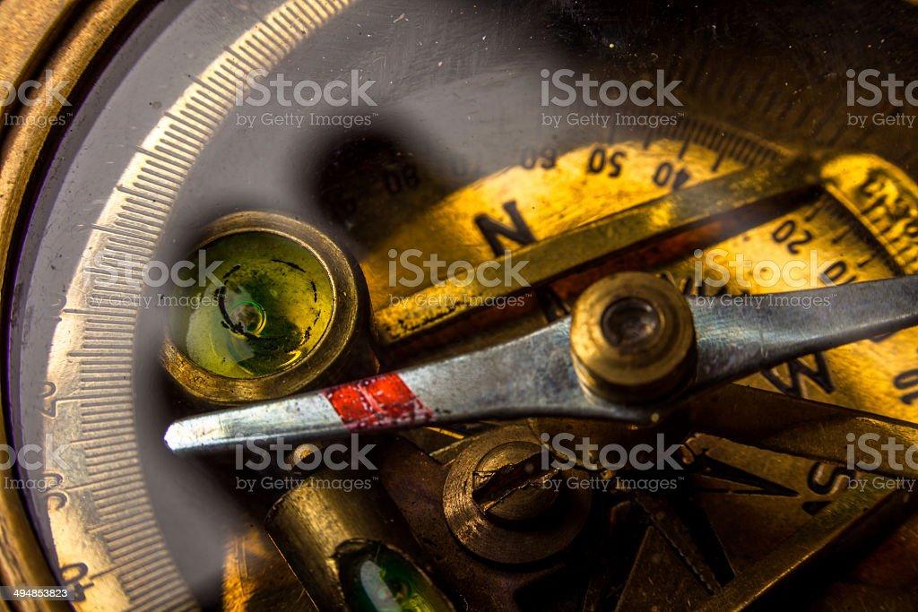 Antique Compass Macro Closeup royalty-free stock photo