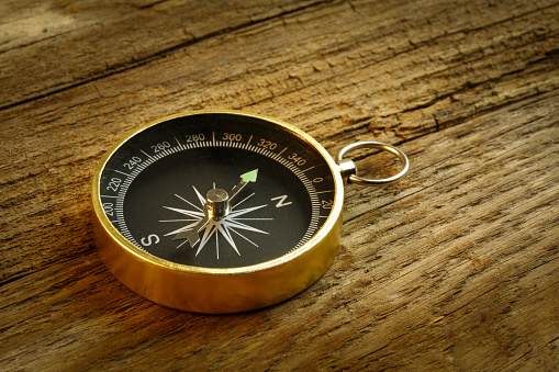 636605172 istock photo Antique Compass On wood table 471059176