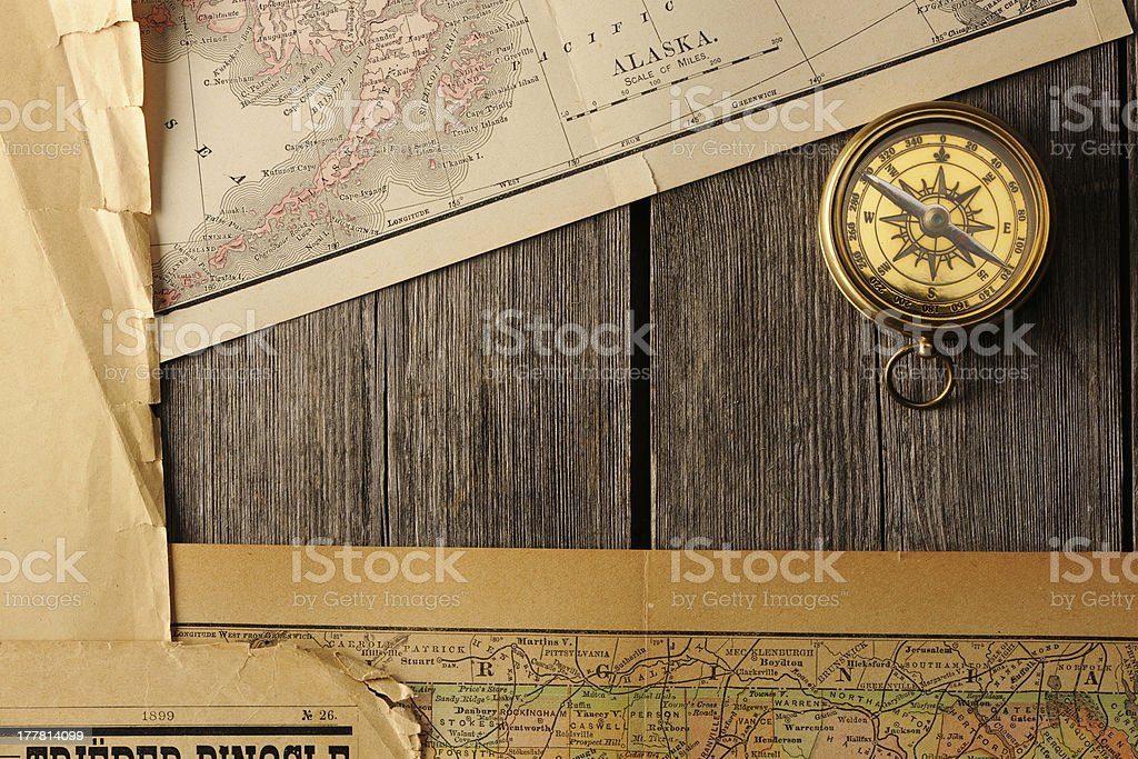 Antique Compass Over Old Map Stock Photo IStock - Antiques us maps with compass
