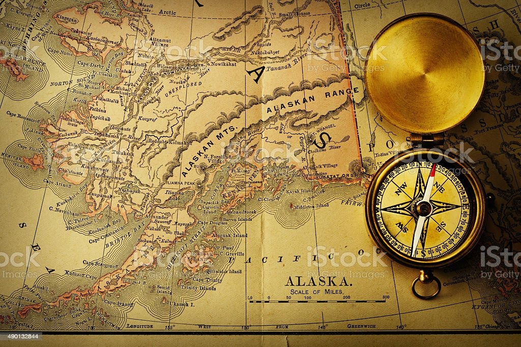 Antique Compass Over Old Xix Century Map Stock Photo More Pictures