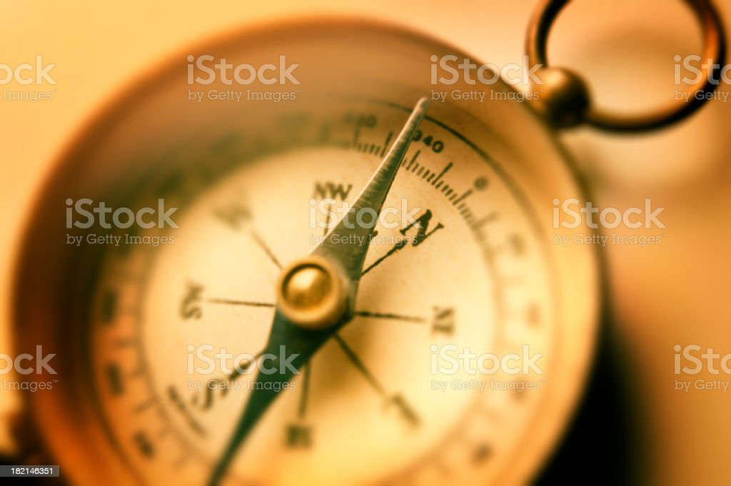 Antique Compass Photographed With Shallow Depth Of Field Tungsten Light royalty-free stock photo