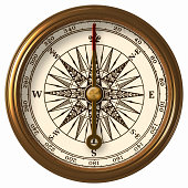 Antique Compass With Clipping Path