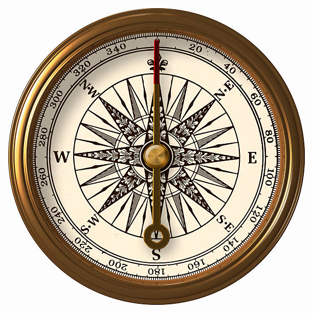 Antique Compass With Clipping Path stock photo