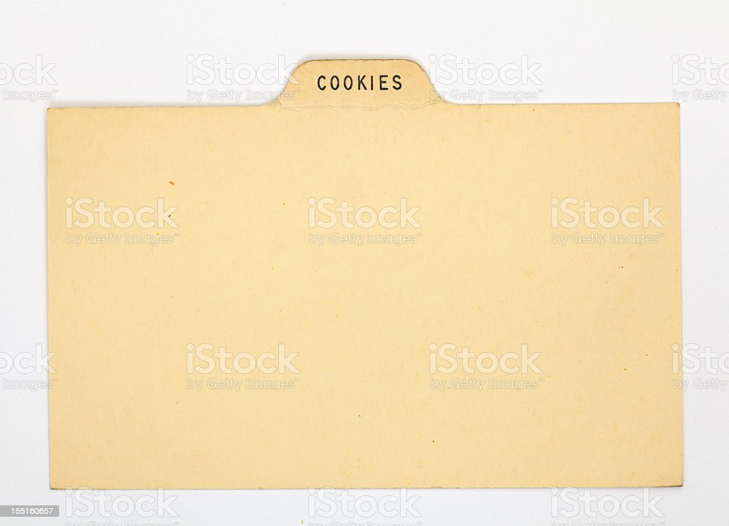 Antique Cookies Index Recipe & Old Fashioned Card, Vintage Paper Background stock photo