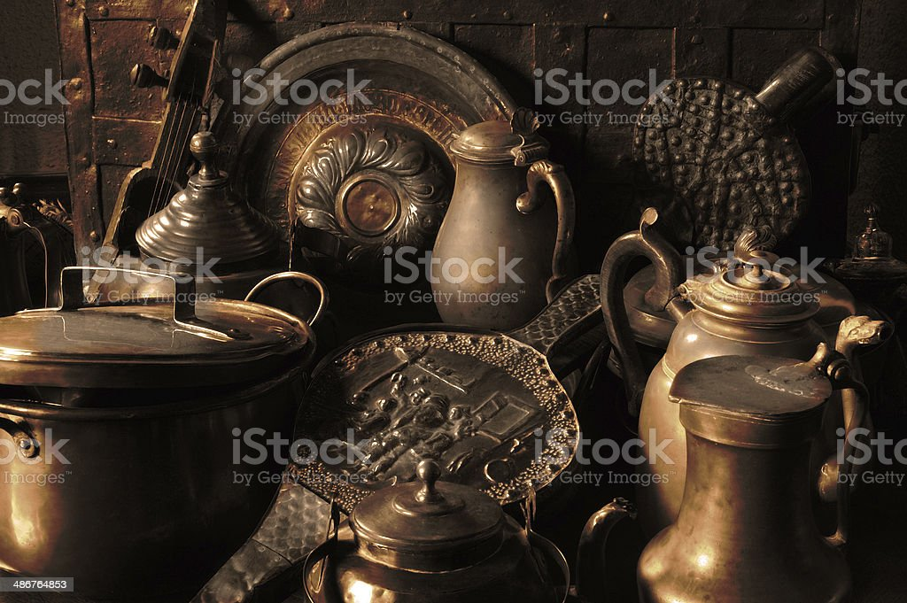 antique copper utensils stock photo