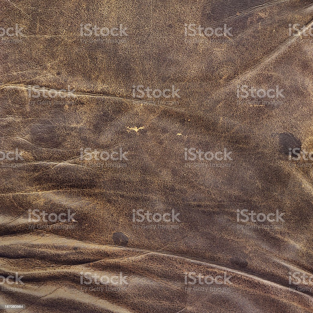 Antique Cowhide Crumpled Wizened Grooved Grunge Texture royalty-free stock photo