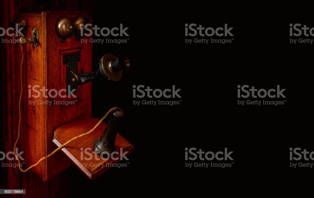 Antique Crank Telephone stock photo