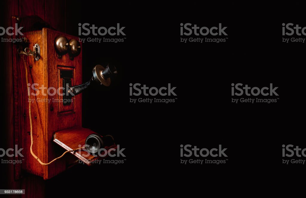 Antique Crank Telephone stock photo
