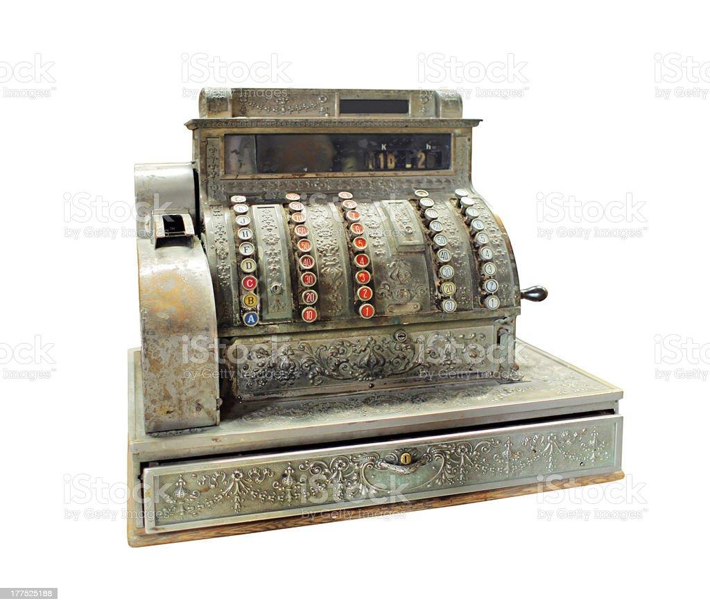 Manivela antigo operados de caixa registradora - foto de acervo