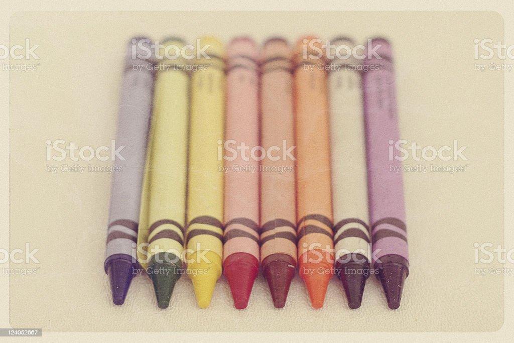 Antique Crayon Set - Retro Objects Series stock photo