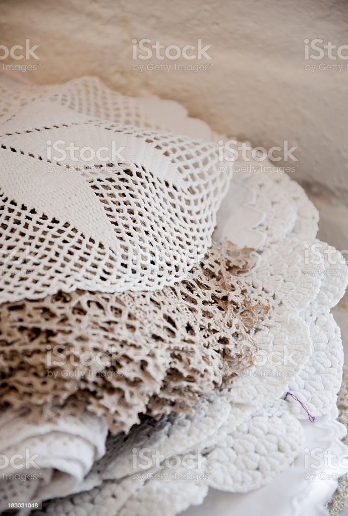 Antique Crocheted and Tadded Lace Doilies royalty-free stock photo