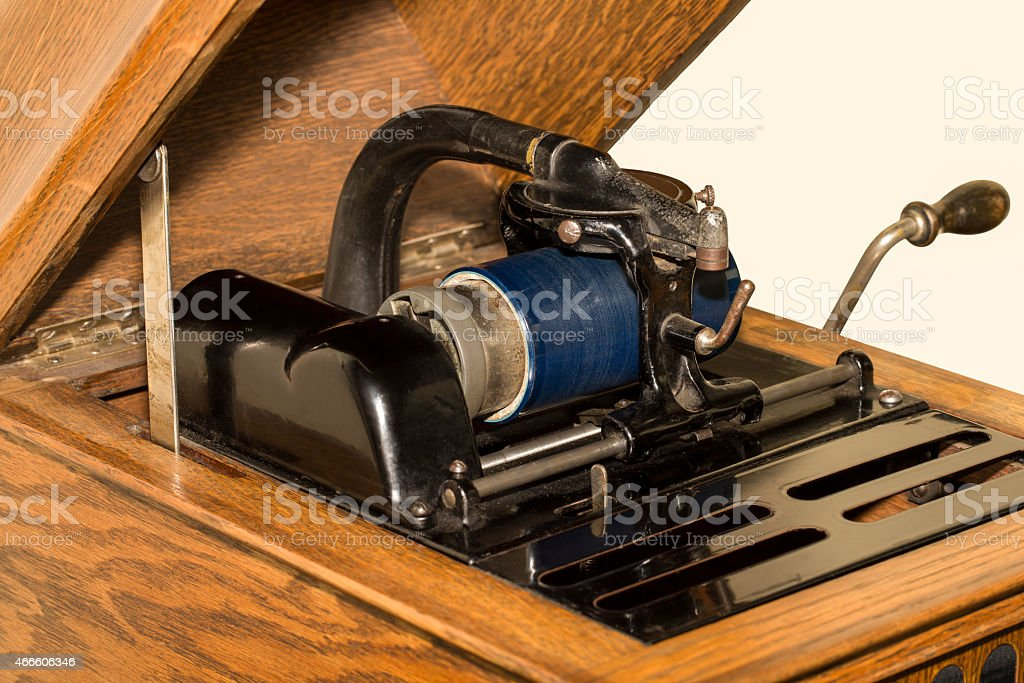 Antique Cylinder Phonograph Detail stock photo
