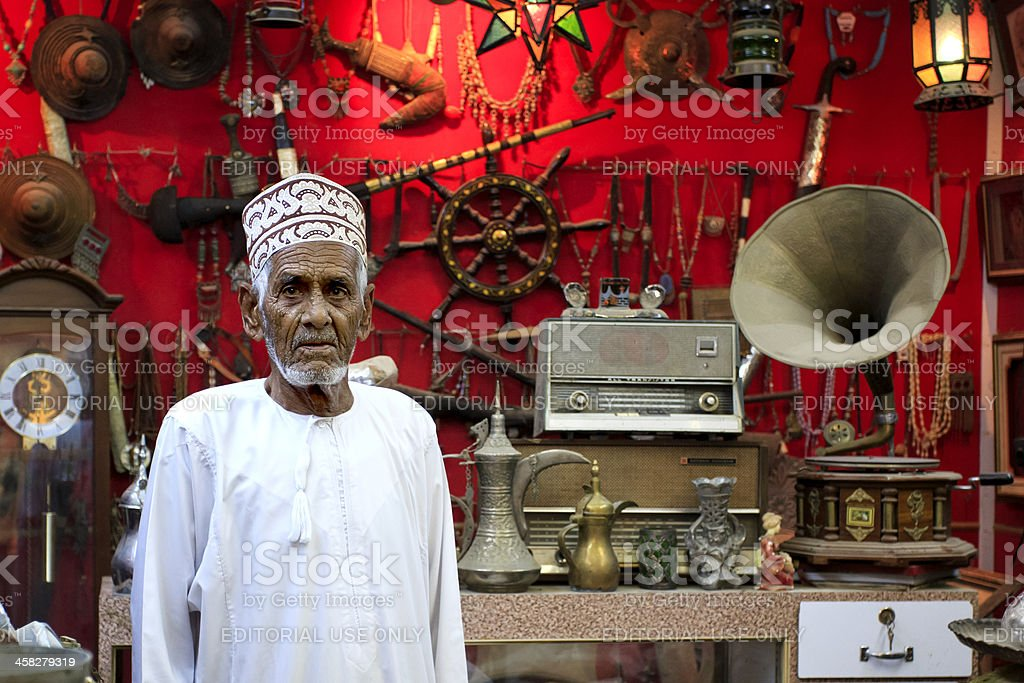 Antique dealer in Mutrah Souk stock photo