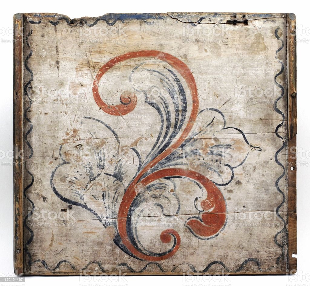 Antique decorated chest lid. royalty-free stock photo