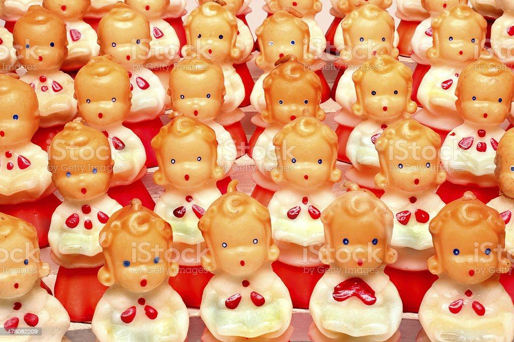 Antique decorative Christmas choir candles figurines stock photo