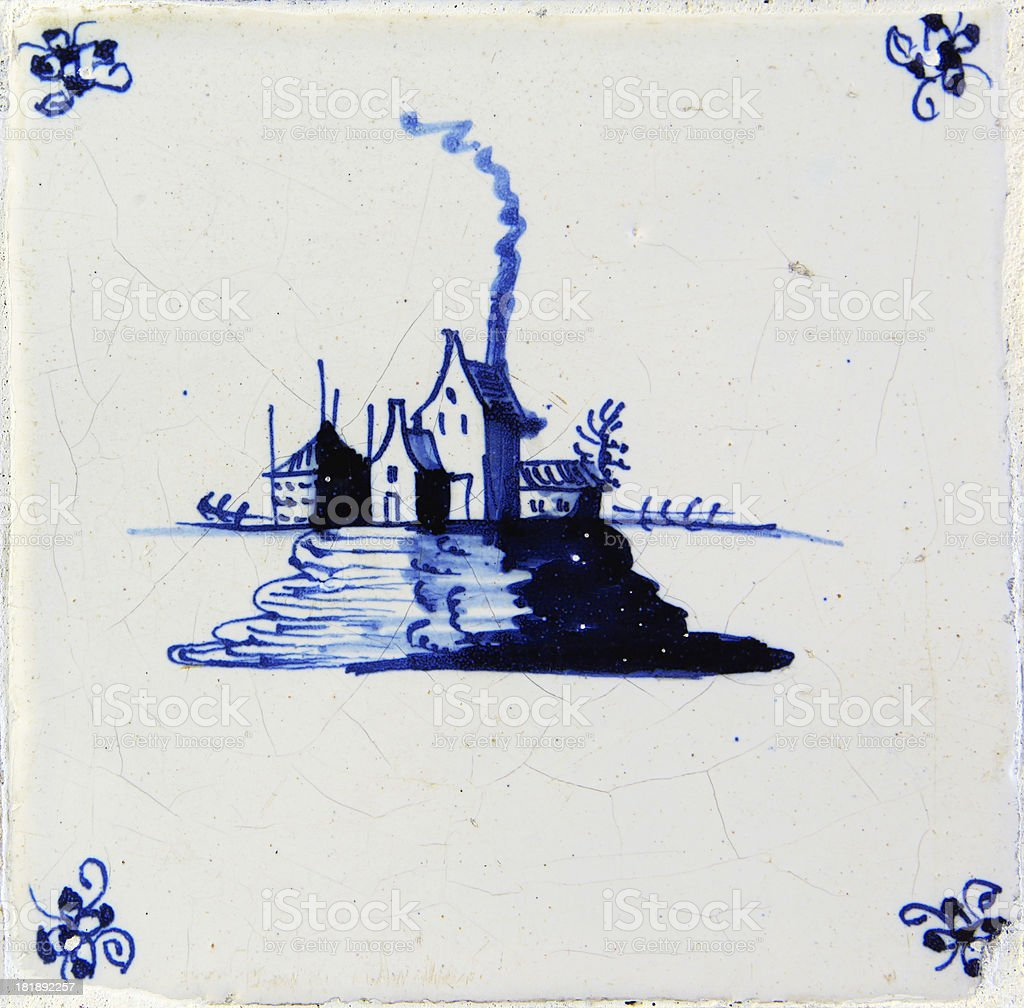 Antique Delft Bleu Tile stock photo