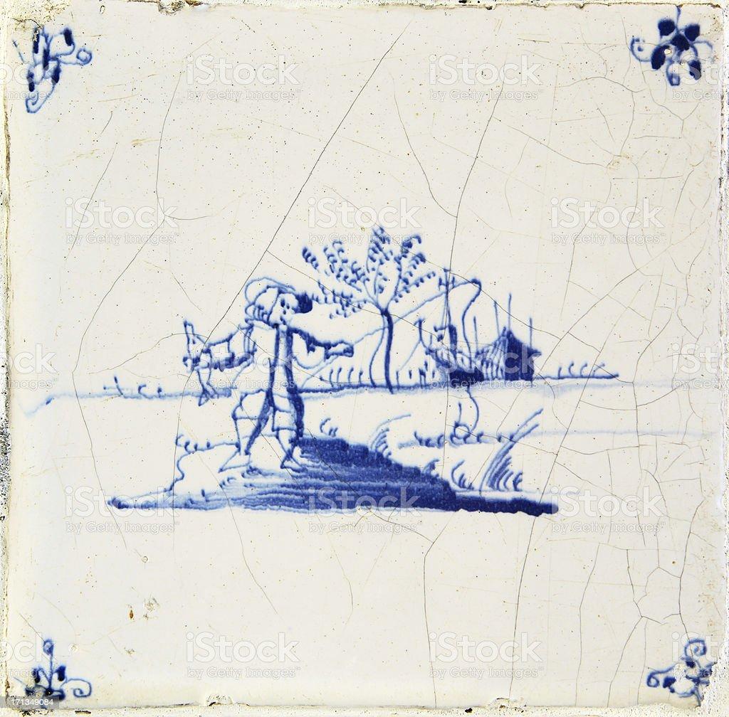 Antique Delft Blue Tile stock photo