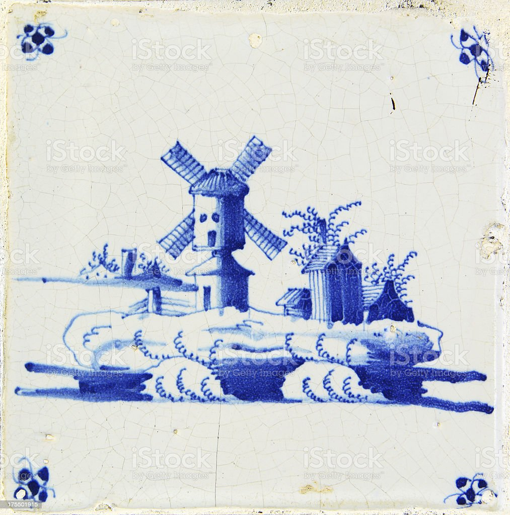 Antique Delft Blue Tile stock photo